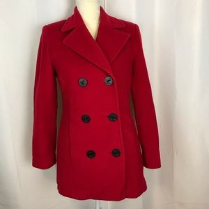 Talbots red wool Cashmere Pea coat size 6 petite